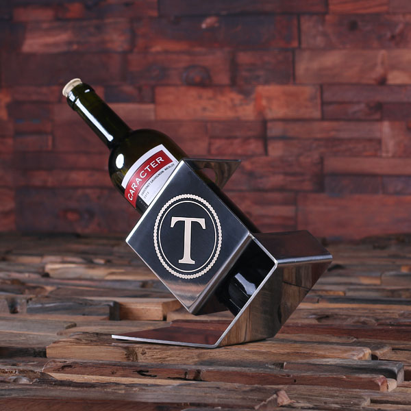 Monogrammed Stainless Steel Wine Bottle Holder TP-025125
