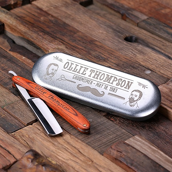Custom Straight Razor and Tin Storage TP-025145