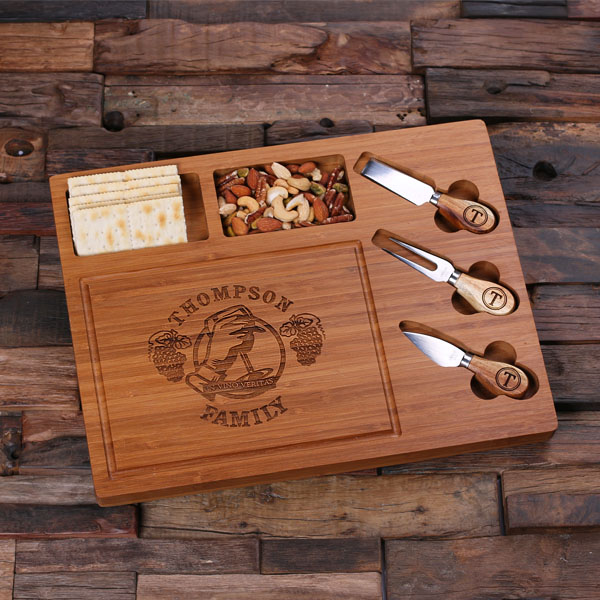 Engraved Bamboo Cutting Board and Serving Tray Set TP-025209