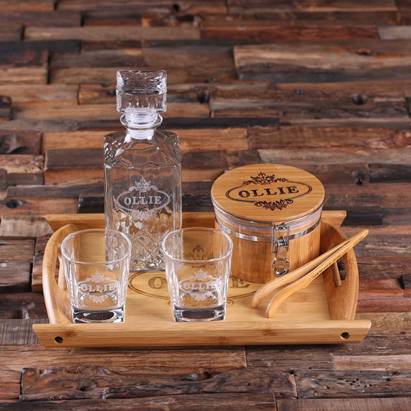 Custom Whiskey Decanter Set With Ice Bucket and Tongs TP-025233
