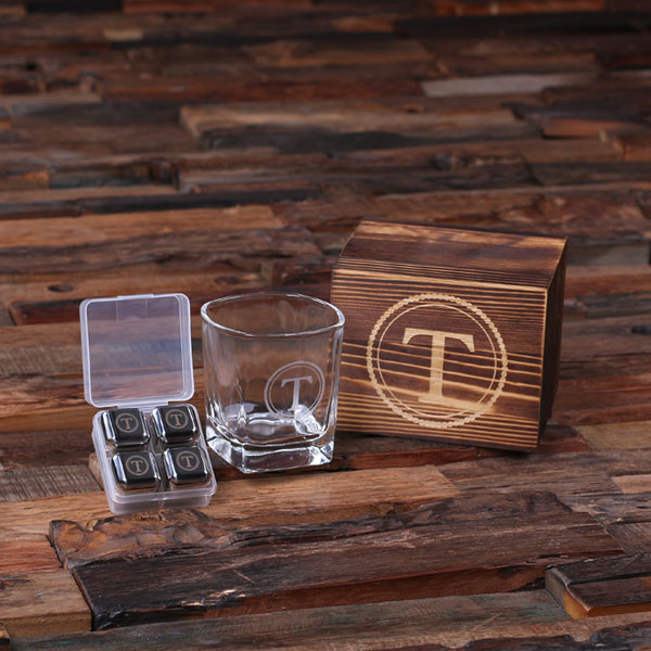 Engraved Manthiest Glass Boxed Steel Cubes Set TP-025247