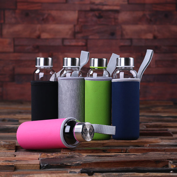 Personalized Glass Water Bottle With Sleeve TP-025252