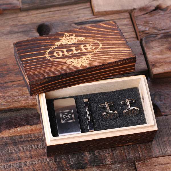 Engraved Gentlemens Gift Set With Clips and Cuffs TP-025276