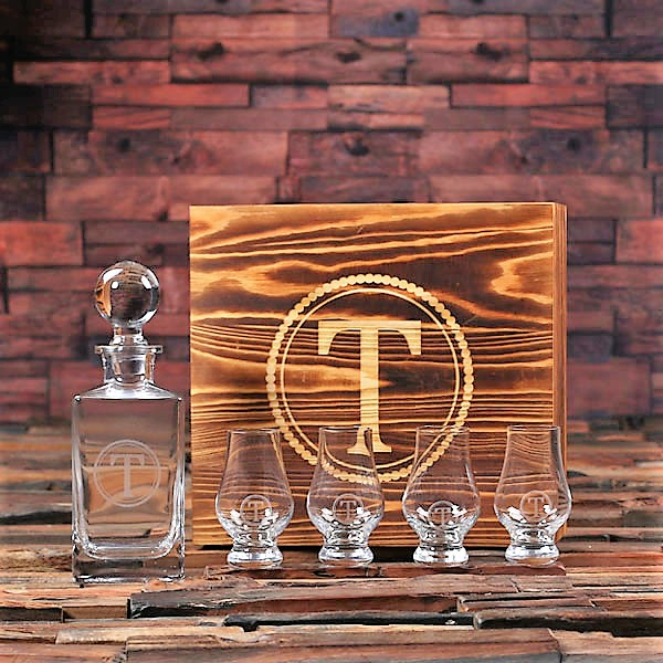 Engraved Domumja Decanter and Whiskey Snifters Boxed Set
