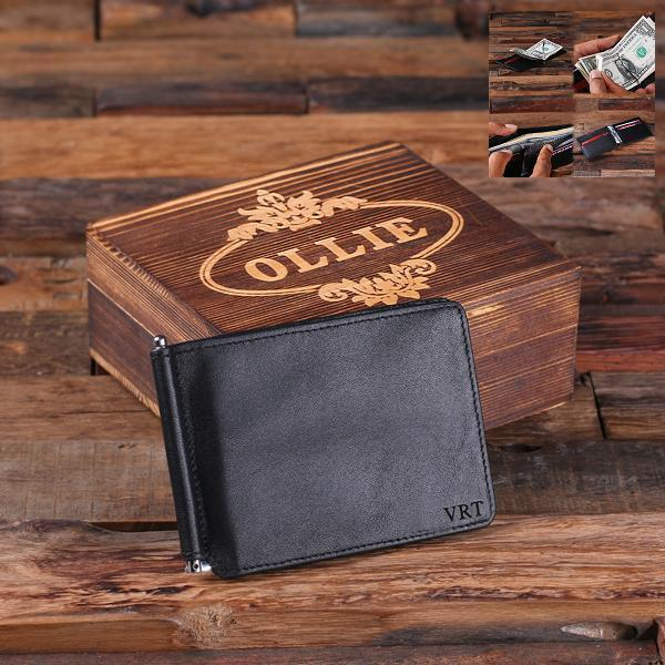 Custom Mens Black Leather Thin Bifold Wallet TP-025328