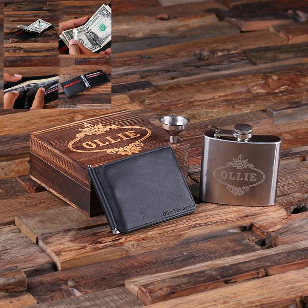 Custom Mens Black Leather Thin Wallet Flask Gift Set TP-025329