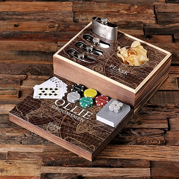 Personalized Flask Distillery Poker Set TP-025348-EXPLORER