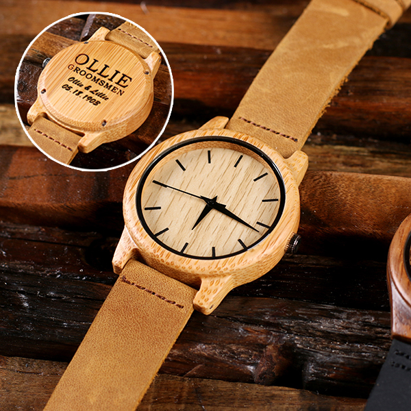 Engraved Tan Landin Wood Wrist Watch TP-025399