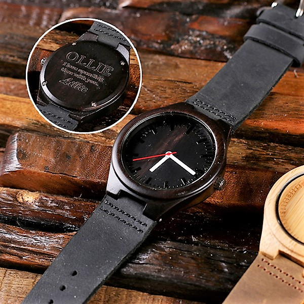 Engraved Midnight Wood Wrist Watch TP-025401