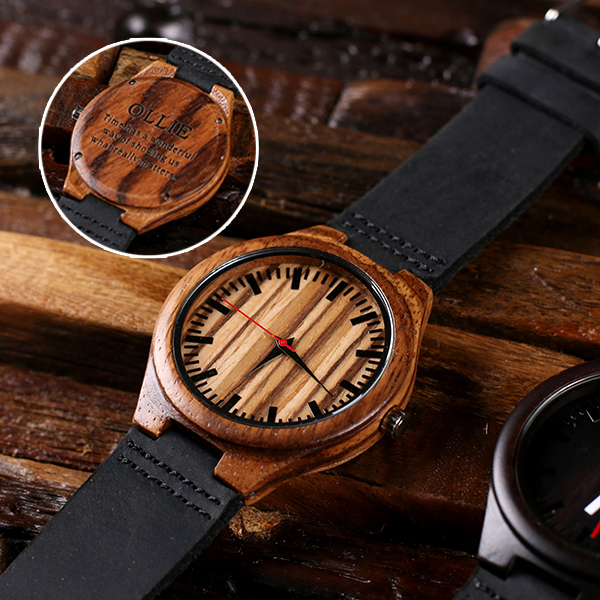 Engraved Molavic Bamboo Wood Wrist Watch TP-025402