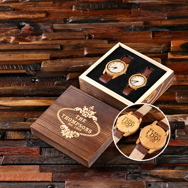 Personalized His and Hers Bamboo Watch Set TP-025403