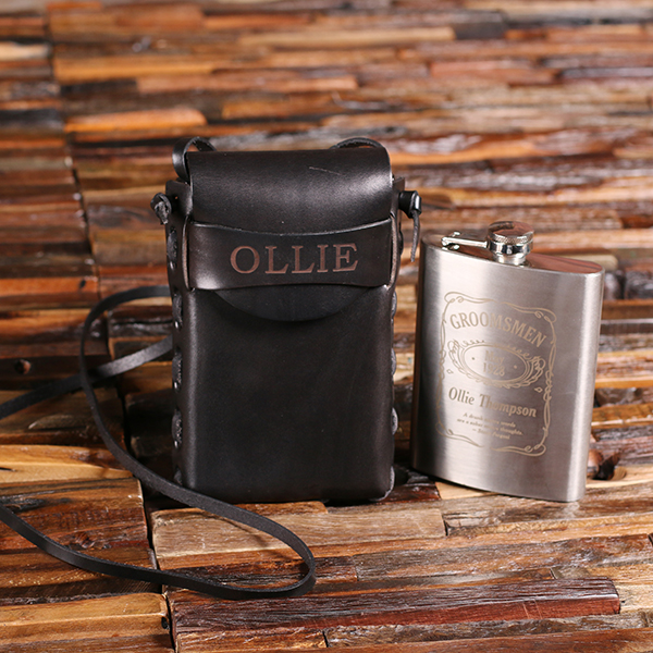 Engraved 8oz Metal Flask With Leather Carrying Pouch TP-025477