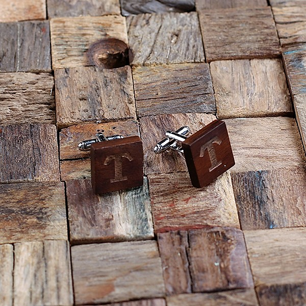 Engraved Mahogany Square Cuff Links TP-025491