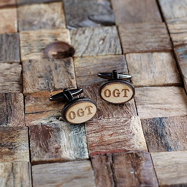 Engraved Rustic Wood and Gun Metal Cuff Links