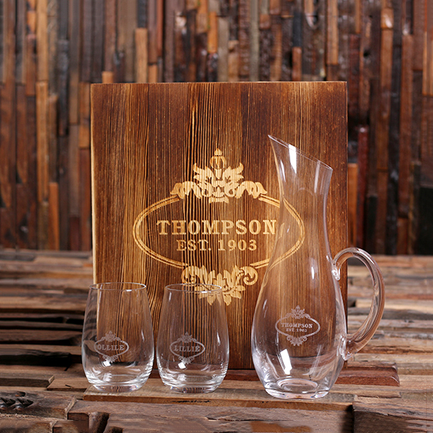 Engraved Wine Decanter Set With Stemless Glasses TP-025516