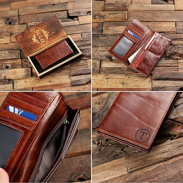Custom Bifold Brown Leather Coat Wallet TP-025521