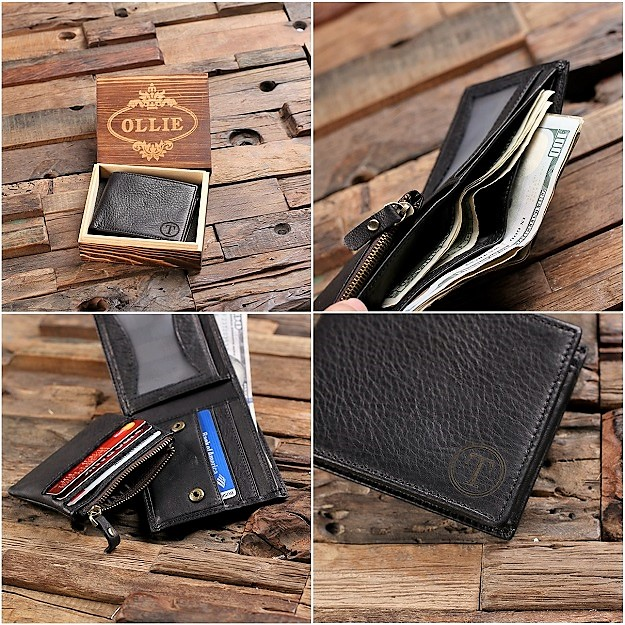 Personalized Black Leather Coin Pouch Wallet TP-025524