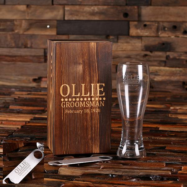 Engraved Pilsner Beer Glass and Opener Boxed Set TP-025575
