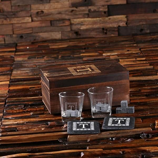 Personalized Spirit Set With 2 Coasters 8 Stones 2 Glasses TP-025577