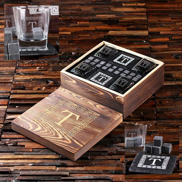 Personalized Spirit Set With 4 Coasters 18 Stones 4 Glasses TP-025578