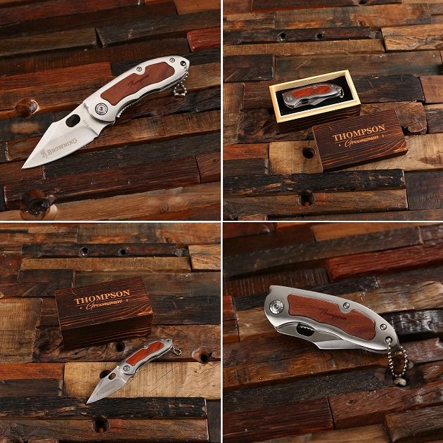 Engraved Authentic Browning Wood Pocket Knife TP-026606_BOX