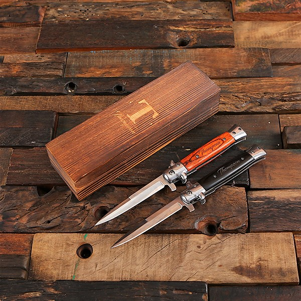 Engraved Wood Switchblade Knife With Box