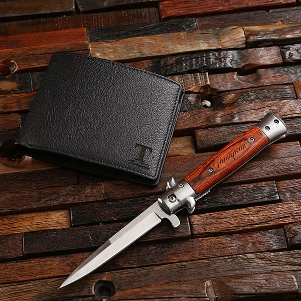 Engraved Wood Stiletto Knife and Leather Wallet Groomsmen Set TP-026681