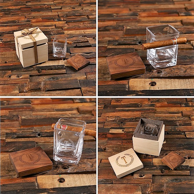 Engraved Cigar Glass and Coaster Boxed Set TP-027589