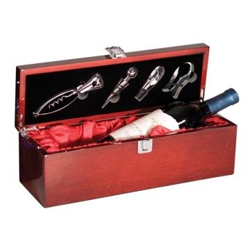 Engraved Rosewood Single Wine Bottle Box