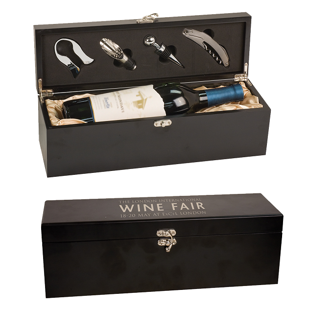Engraved Black Wine Box