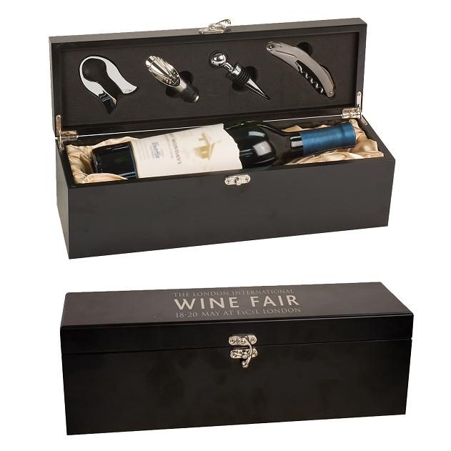 Engraved Black Wine Box WBX21